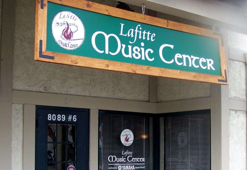 The Lafitte Music Center building with its entry sign